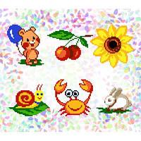 """Водорастворимый флизелин с рисунком """"Confetti"""" (K 221 Маленькие друзья)"""