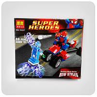 Конструктор Super Heroes «Трехколесный мотоцикл человека-паука против Электро», фото 1