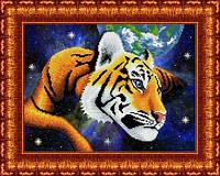 Схема для вышивки бисером В просторах вселенной. Тигр