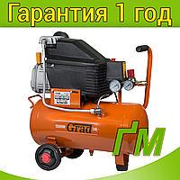 Компрессор одноцилиндровый 1.5 кВт, 198 л/мин, 8 бар, 24 л GRAD (2 крана), фото 1