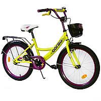 Велосипед детский 2-х двухколесный 20 дюймов CORSO желтый с фиолетовым с корзиной 6-10 лет