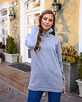 """Красивый уютный женский джемпер с капюшоном удлиненный """"УШКИ"""" с карманами."""