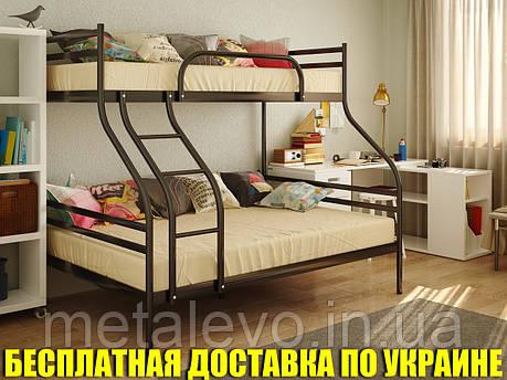 Двухъярусная трехспальная металлическая кровать СМАРТ (SMART) , фото 2