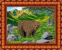 Схема для вышивки бисером В тайге. Медведь