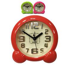 Часы с будильником круглые на ножках красного цвета