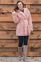 Оригинальный женский полушубок  из искусственной ламы нежно розового  цвета с 42 по 60 размер, фото 3