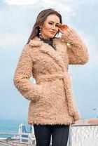 Оригинальный женский полушубок  из искусственной ламы нежно розового  цвета с 42 по 60 размер, фото 2