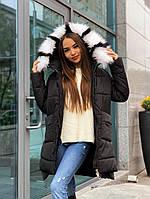 Зимняя куртка женская с капюшоном стильная черная