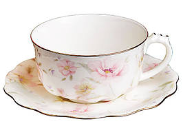 Чашка с блюдцем фарфоровая Лаура 400 мл 264-646