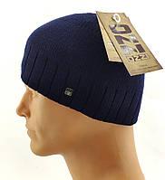 Мужские вязаные шапки Польские утепленные флисом 56 по 60 размер теплые утолщенные мужская шапка, фото 1
