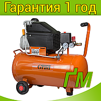Компрессор одноцилиндровый 1.5 кВт, 198 л/мин, 8 бар, 50 л GRAD (2 крана), фото 1