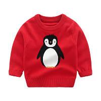 Красный Детский свитер с  пингвином  свитер для мальчика  качество отличное!фото в  живую