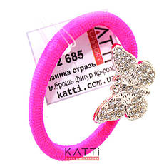 KATTi резинка для волос 32 685 средне малая с брошкой, стразами ярко розовая, фото 2