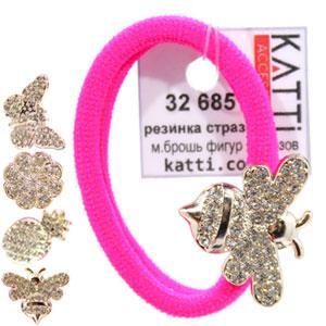KATTi резинка для волос 32 685 средне малая с брошкой, стразами ярко розовая