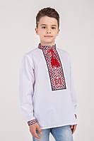 Вышитая сорочка на мальчика с красным орнаентом