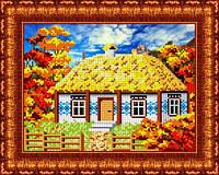 Схема для вышивания бисером В деревне. Осенью