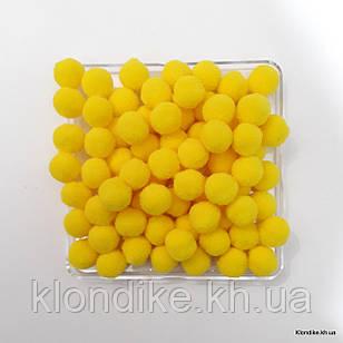 """Помпоны """"Велюр"""", 1.5 см, Цвет: Жёлтый (50 шт.)"""