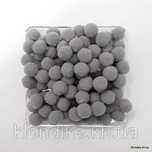 """Помпоны """"Велюр"""", 1.5 см, Цвет: Серый (50 шт.)"""
