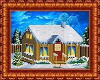 Схема для вышивания бисером В деревне. Зимой