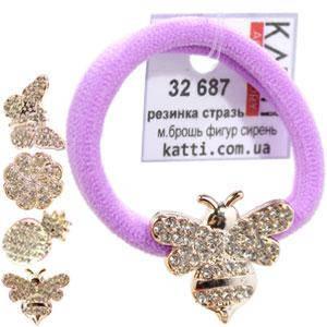 KATTi резинка для волос 32 687 средне малая с брошкой, стразами сиреневая, фото 2