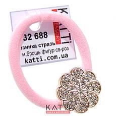 KATTi резинка для волос 32 688 средне малая с брошкой, стразами светло розовая, фото 3