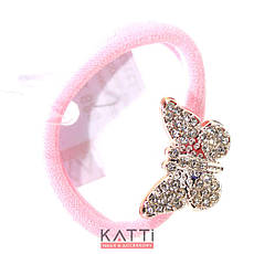 KATTi резинка для волос 32 688 средне малая с брошкой, стразами светло розовая, фото 2
