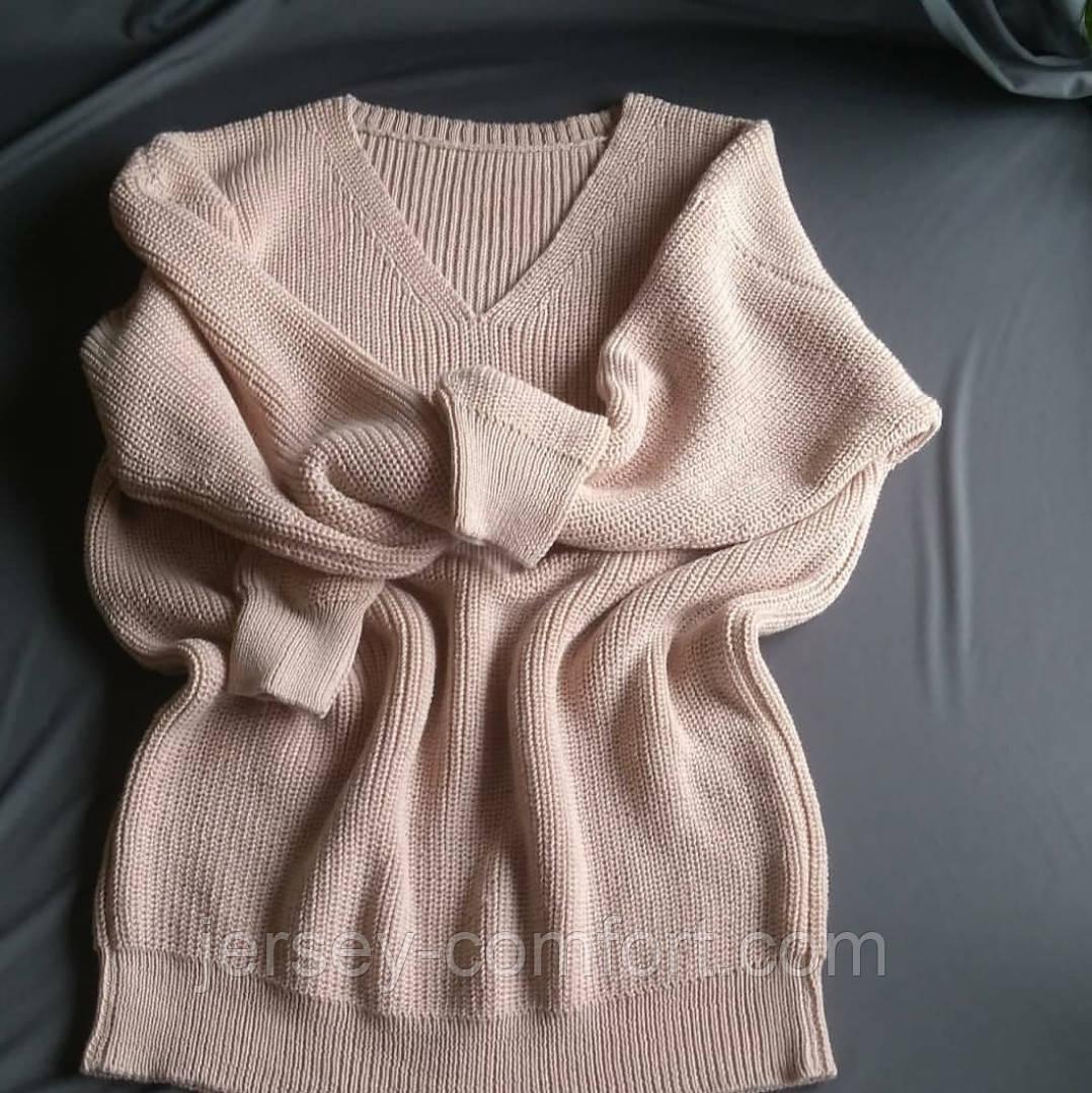 Вязаный свитер из мериноса. Жемчужная резинка. Оверсайз. Машинное вязание
