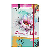 """Скетчбук А5,64 л. """"Flowers"""" твёрдая обложка, на резинке ТП-66, фото 1"""
