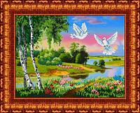 Схема для вышивания бисером Русский пейзаж