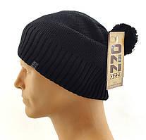 Мужские вязаные шапки Польские утепленные флисом 56 по 62 размер теплые длинные чулок утолщенные