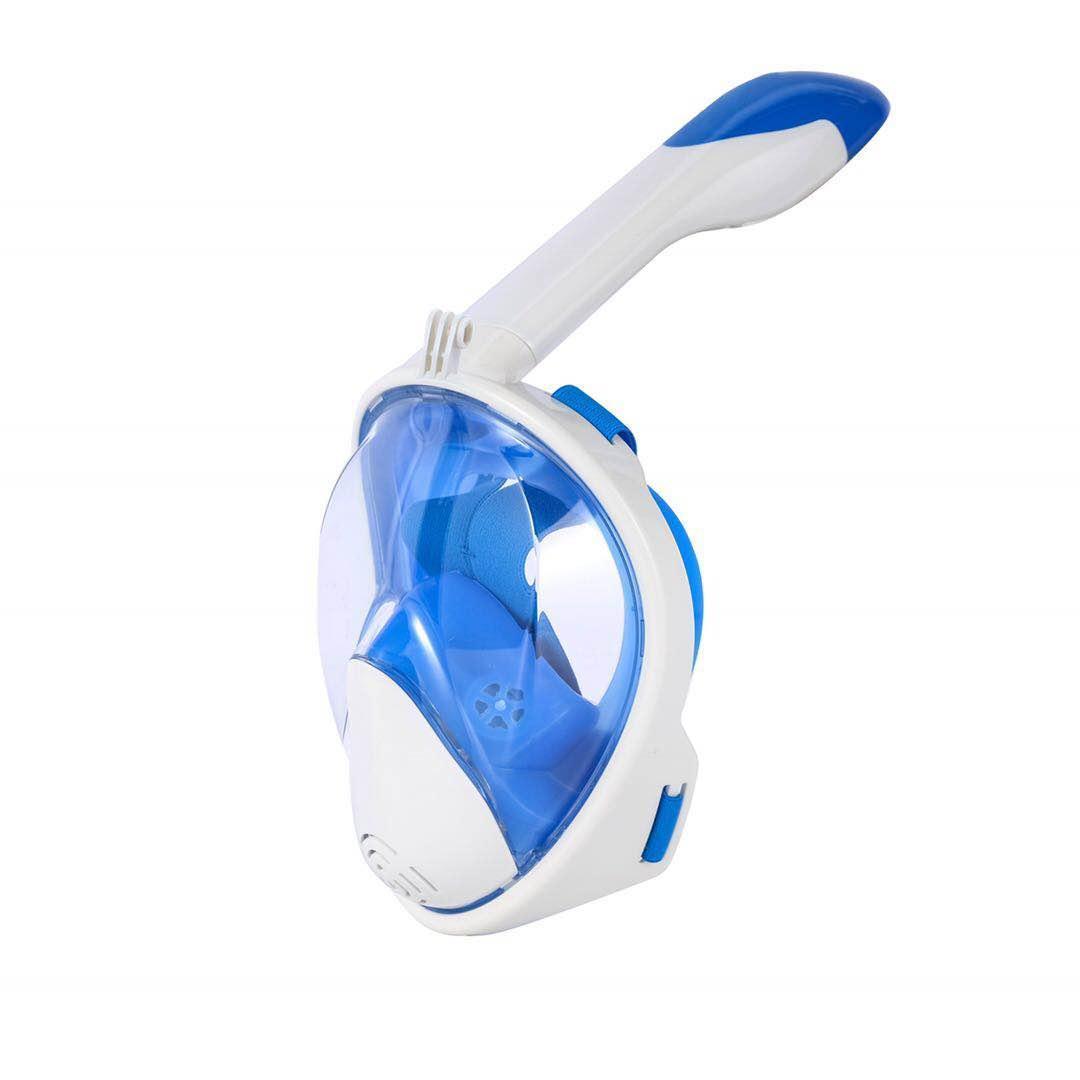 Маска для снорклинга Aolais полнолицевая с креплением для камеры Бело-голубая