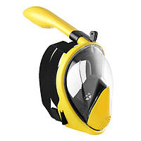 Маска для снорклинга Aolais полнолицевая с креплением для камеры Черно-желтая, фото 1