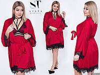Шикарный комплект комбинация пеньюар ночная сорочка и халат с кружевом красный 42-44 46-48 50-52 54-56