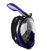 Повна маска для плавання, для снорклінга Aolais L/XL темно-синя