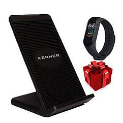 Беспроводная универсальная зарядка для смартфона KERNER Черная + Фитнес браслет Band M4 в ПОДАРОК!!!