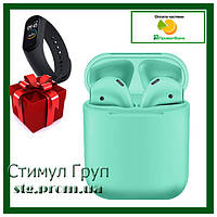 Беспроводные Bluetooth наушники inPods 12 зеленые + фитнес-браслет Mi Band 4 в ПОДАРОК!!!