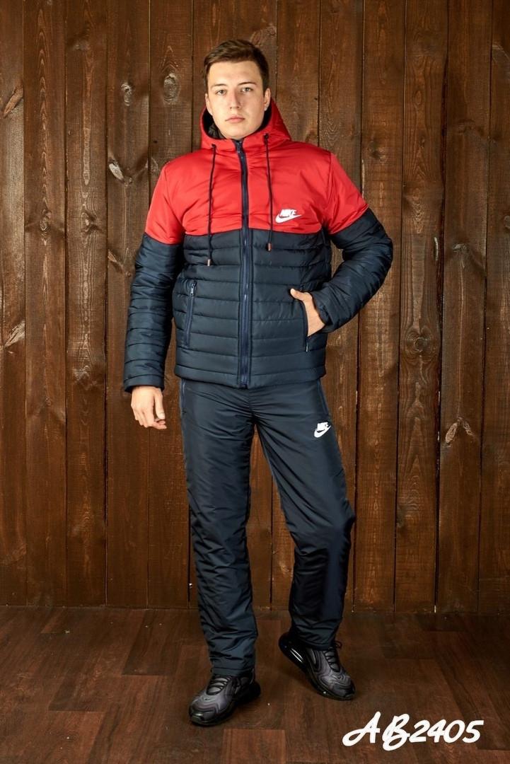 Зимовий теплий чоловічий костюм на овчині куртка+штани,