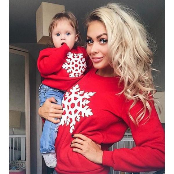 Крутые новогодние  свитшоты со снежинками красные женский  детский  мужской  Бомба!
