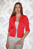 Модный оригинальный женский пиджак из коттон-мемори 46 Красный
