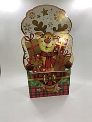 Новогодняя картонная упаковка для конфет 800 грамм Олень