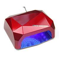 Лампа для маникюра многогранник с СЕНСОРОМ LED+CCFL гибрид 36 Вт Красная