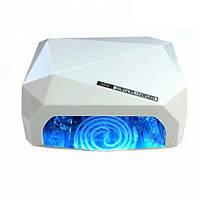 Лампа для маникюра многогранник с СЕНСОРОМ LED+CCFL гибрид 36 Вт Белая