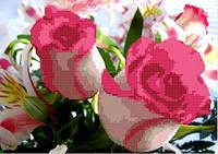 Схема для вышивания  на габардине Розовая фантазия
