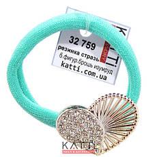 KATTi резинка для волос 32 759 средняя изумрудная с фигурной большой брошкой, фото 2
