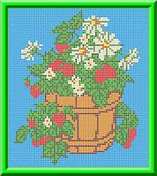 Схема для вышивания  на габардине Ведерко с земляникой