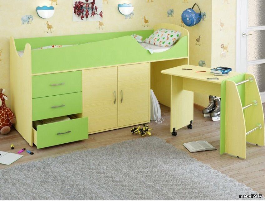 Детская кровать-чердак со столом ДМО 41
