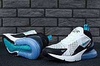 Мужские кроссовки Nike Air Max 270, белые с черным, текстильыне, в стиле Найк Аир Макс 270, код KD-11524.