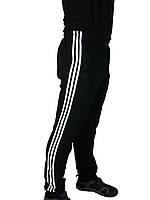 Штаны теплые с начесом трикотажные мужские ADIDAS,три полосы,классика на резинке,зауженные  46-52,Турция.