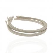 Обруч для волос металлический 5 мм, обмотан кремовой лентой