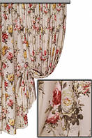 Ткань в стиле прованс, рисунок крупные цветы, желтый цветок на молочном фоне
